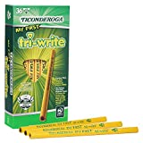 Ticonderoga My First Tri-Write Pencils without Eraser, Primary Size Wood-Cased #2 HB Soft, Yellow, 36-Pack (13084)