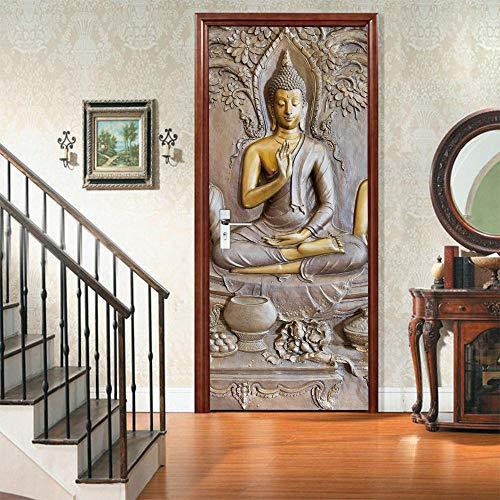 3D DIY Self-Adhesive Interior Door Stickers Buddha Statue-Peel and Stick 2PC Door Wall Decal Murals PVC Waterproof Removable Door Wallpaper for Home Decoration 34.6x78.7 inch