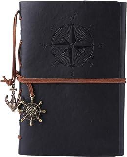 Cuaderno de piel Maleden, rellenable, hojas en blanco. , color negro