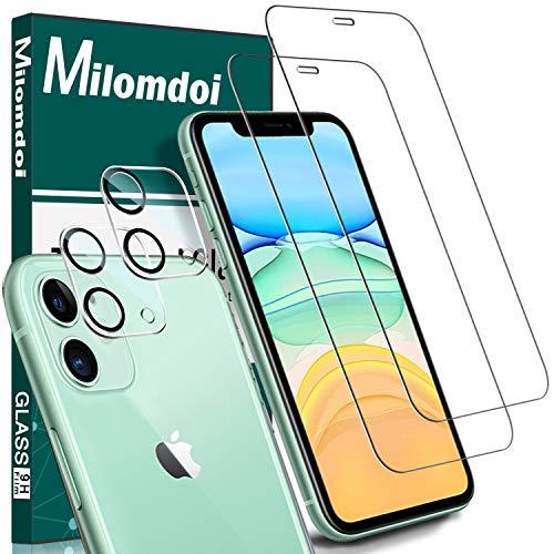 Milomdoi [4 Unidades] 2 Unidades Cristal Templado +2 Unidades Protector Cámara para iPhone 11, Protector Pantalla con Protector de Lente de Cámara Sin Burbujas HD [Anti-Arañazos]-6.1 Inch