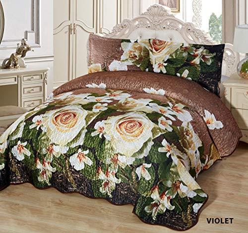 Orly's Dream 3 Pcs Super Soft Queen Size Prestige Quilted Reversible Velvet Bedspread Coverlet Quilt Set (Violet)