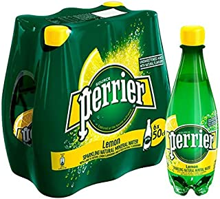 Perrier Carbonated Natural Spring Water With Natural Lemon Flavor Pet Bottle, 6X500ml