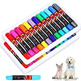 2 Boxes Pet Hair Dye 12 Colors for Dog Cat Temporary Washable Pet Fur Coloring Bright Color Pet Hair Chalk Painting Pens Non-Toxic for Creative Grooming