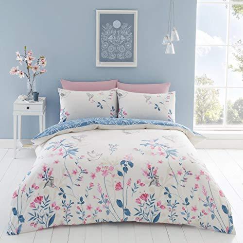 Hendem Emma Duvet Cover Set With Pillow Case Modern Bedroom Pink Floral Bird Print Quilt Cover Reversible Bedding Set (Double)
