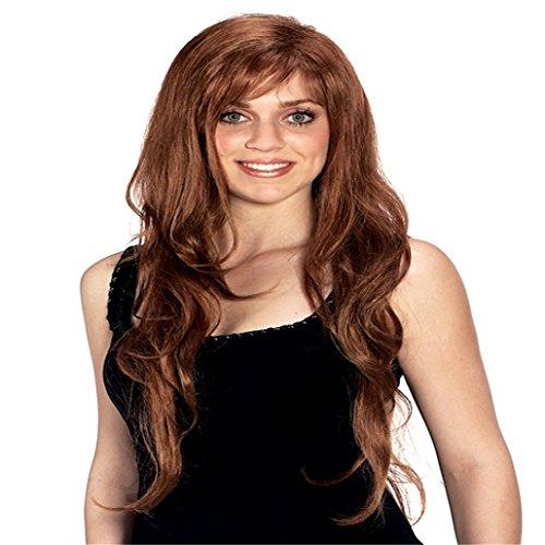 Longlove Cuivre rouge Cheveux femelle personnage de dessin animé Halloween Masquerade jouer Jeu Big Wave Perruque