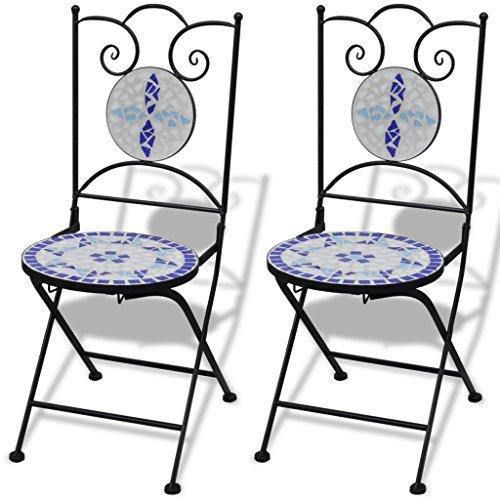 Anself Mosaikstuhl Klappstuhl Bistrostuhl Blau und Weiß 2er Set