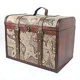 Baúl de madera grande de lujo con diseño de globo terráqueo , aprox. 43x 33x...