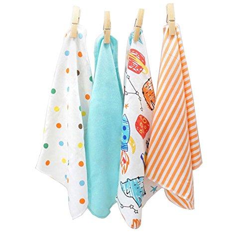 CuteOn 4 PCS Réutilisable Nouveau née Bébé Débarbouillettes Nappe de chiffon Mini serviettes pour bébé pour Peau Sensible 11.02\