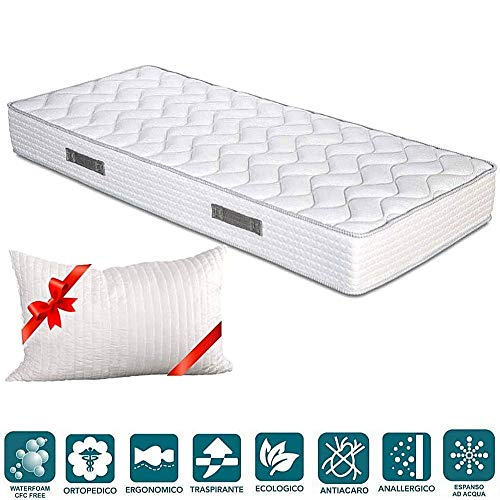 EVERGREENWEB - Materasso Una Piazza E Mezza 120X190 In Waterfoam Alto 20 Cm Con CUSCINO Memory Foam, Ortopedico, Rivestimento Bianco Effetto MASSAGGIANTE, Antiacaro Per Tutti Reti E Letti Mod. FASHION
