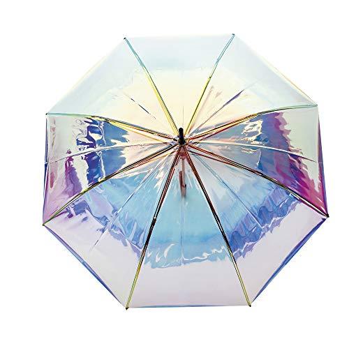 Paraguas Vogue Transparente. Efecto tornasolado Iridiscente. Paraguas Mujer clásico Largo. Automático y antiviento.