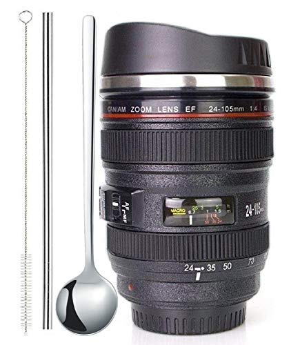 Coffee Mug,Camera Lens Cup with Sipping Lid,Super...
