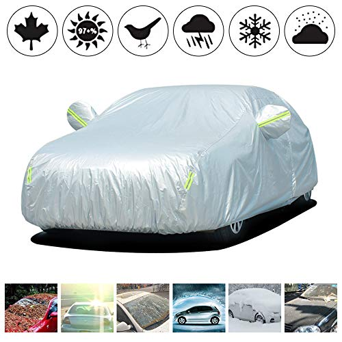 Oxford Cloth Car Cover Custom Made For Volvo XC60 SUV Sun Protection with Night Reflective Waterproof Windproof Dustproof Snow Leaves Scratch Resistant Size:YL(485x190x185mm) Silver