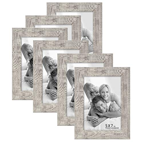 Boichen 6 Pack 5x7 Picture Frame Reclaimed Wood Finish High Definition Glass Photo Frame Tabletop or Wall,Wave Woodgrain Photo Frames