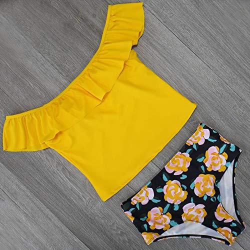 XUANYA badpak voor vrouwen mode badmode strapless geel gekruld print badpak badmode maat pak