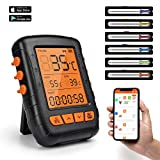 HENMI Digital Grillthermometer Bluetooth Bratenthermometer Grill Thermometer Wireless Küchenwecker Fleischthermometer für BBQ, Küche,Backofen, Grill, Steak,Milch,Unterstützt IOS, Android, 6 Sonden