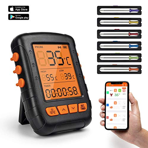 HENMI Digital Grillthermometer Bluetooth Bratenthermometer Grill Thermometer Wireless Küchenwecker Fleischthermometer für BBQ, Küche,Backofen, Grill, Steak,Milch,Unterstützt IOS, Android, 6 Sonden
