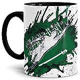 Tassendruck Flaggen-Tasse Fussballer -Saudi-Arabien - Fahne/Länderfarbe/WM 2018/Weltmeisterschaft/Cup/Tor/Innen und Henkel Schwarz - Qualität Made in Germany