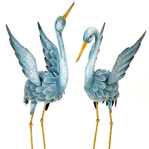 Bits and Pieces - Japanische Purpurreiher Gartendeko - Metall Skulptur - Zwei Blaue Reiher Figuren für Garten, Rasen oder Hof