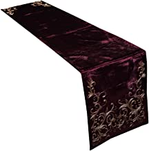 Decozen Velvet Embd Runner in Satin Burgundy Vintage Copper Motif Design for Dining Table Coffee Table Sideboard Embroidered Table Runner 13x72 inches
