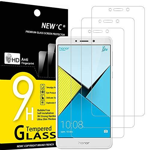NEW'C 3 Stück, Schutzfolie Panzerglas für Honor 6X, Frei von Kratzern, 9H Festigkeit, HD Bildschirmschutzfolie, 0.33mm Ultra-klar, Ultrawiderstandsfähig