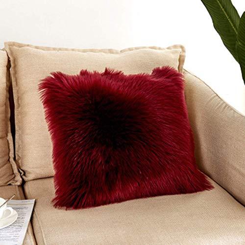 JGHF Almohadas de felpa para sofá, pelo largo, cómodas y suaves, fundas de almohada cuadradas lavables, cojines mullidos (estilo 7,40 x 40 fundas de almohada con núcleo)