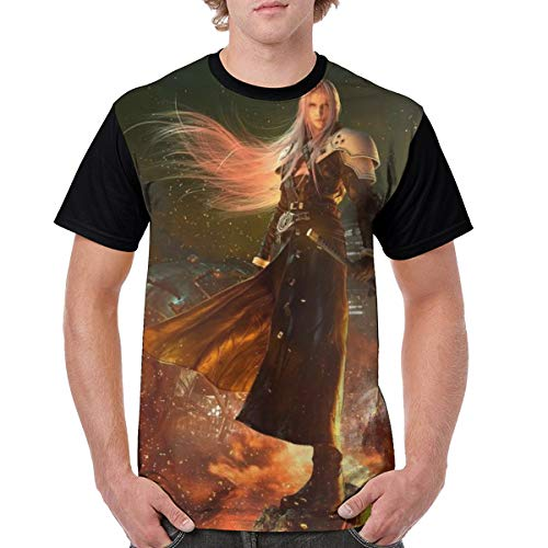 Final Fantasy XII Remake-Sephiroth Men's Classic Polyester Short Sleeve Shirt Anime Shirt XXL Black