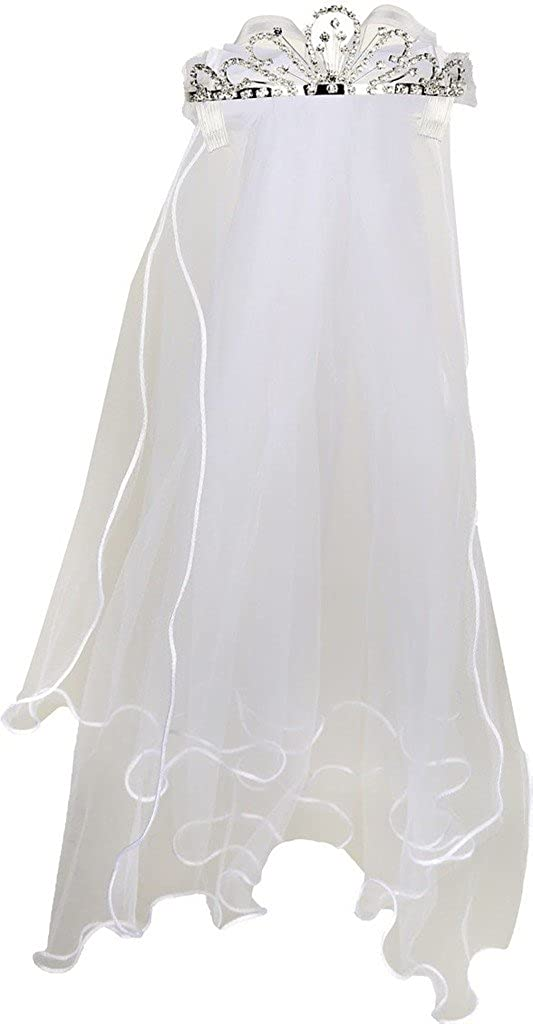 Flower Girl First Communion Veil Two Layers Tulle & Tiara Attach Style# 108