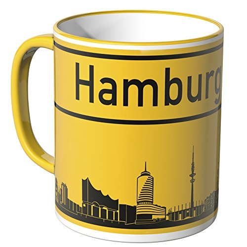 Wandkings® Tasse, Skyline Hamburg - GELB