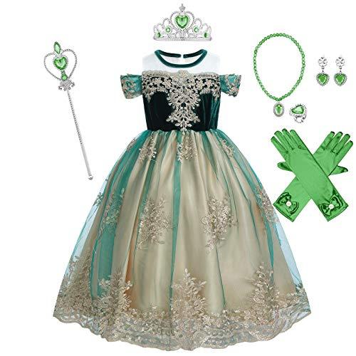 IWEMEK Niñas Anna Disfraz Princesa Vestido con Accesorios Cosplay Reina de Nieve Carnaval Vestido Halloween Fiesta Fancy Dress Costume Navidad Ceremonia Cumpleaños Traje 01 Set 9-10 años