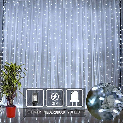 250 Led Sterne Regen Lichterkette Eiszapfen Lichtervorhang Netz 3mx3m Ip44 Wasserfest Für Led Weihnachtsbeleuchtung Innen Außen Garten Balkon Party