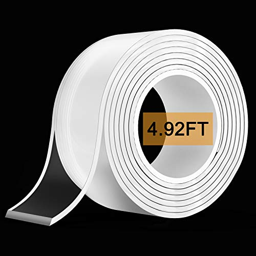 Nano Double Sided Tape (1.5M/4.92FT), Removable Gel Grip Tape Transparent Sticky Tape,Reusable Traceless Mounting Adhesive Tape Heavy Duty for Fix Carpet Photo Poster,Home Office Car Wall Decor