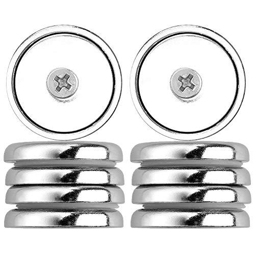 Anpro Magnete al Neodimio Potente - 10 pezzi 32mm Magneti Neodimio N52 Forte Il giro, Viti Magnetiche, Ganci magnetici, Magneti per pentole,Forza di tenuta 65 LBS con 10 viti di montaggio