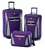 American Tourister Fieldbrook II Softside Upright Luggage Set, Purple/Grey