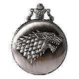 Game of Thrones Quarz-Taschenuhr mit Wappen 'Haus Stark' für Herren in Retro-/Vintage-Stil, mit Antiksilber-Effekt und 80 cm langer Halskette