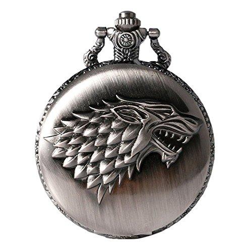 Game of Thrones House Stark Crest - Reloj de bolsillo de cuarzo para hombre, diseño de escudo de Stark envejecido con efecto de plata cepillada, con cadena de 80 cm