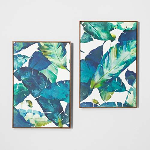 """24"""" x 36"""" Tropical Palm 2pk Framed Wall Canvas Blue - Opalhouse™"""