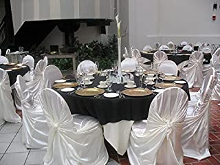 SPRINGROSE White Satin Universal Chair Covers(set of 10).