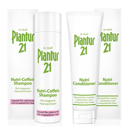 Plantur 21 Nutri-Coffein-Shampoo, 250 ml & Nutri-Conditioner, 150 ml - Schutz vor vorzeitigem Haarausfall, Pflege-Spülung für coloriertes & strapaziertes Haar