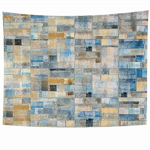 Tapices para colgar en la pared Pintura de baño abstracta Azulejos de pared Mosaico cuadrado antiguo Piso envejecido Texturas de cerámica Mármol Obra de arte Tapiz Manta de pared Decoración del hogar