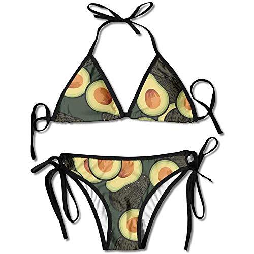 Bikinis,Patrón De Aguacate Lámina Mujeres Traje De Baño Bikini con Vendaje Conjunto Sujetador Push-Up Acolchado Traje De Baño