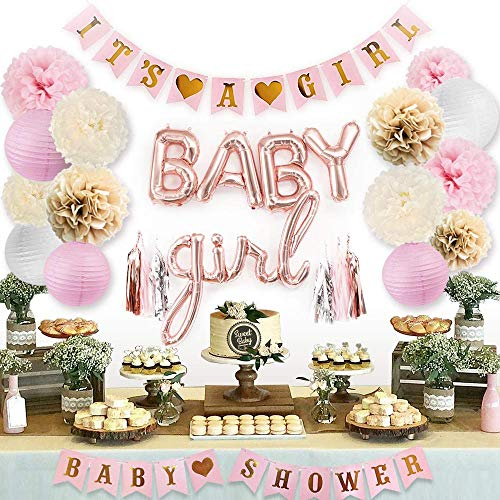 Sweet Baby Co. Pink Baby Shower Decorations for Girl with Its A Girl Banner, Baby Girl Letter Balloons, Flower Pom Poms, Paper Lanterns, Tassels (Rose Gold, Pink, Ivory, White Sprinkle Set)