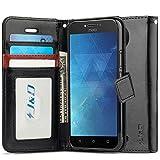 J&D Compatible para Moto C Plus Funda, [Protección de Cartera] [Soporte Plegable] Funda Pesada Resistentes Billetera para Motorola Moto C Plus Funda Cuero - Negro