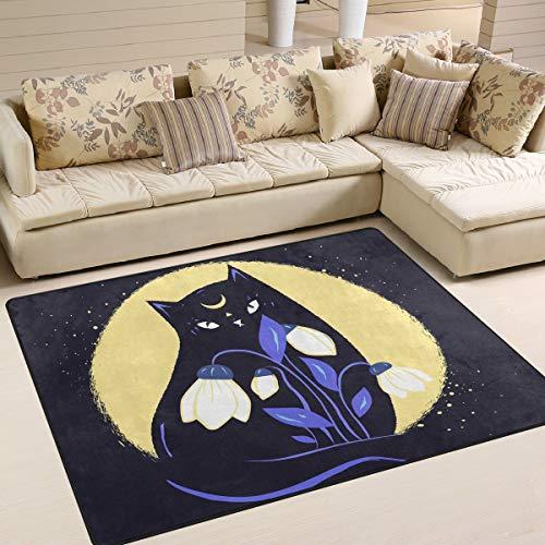 Mr.Lucien Alfombra de área para dormitorio, gato, flores, luna, noche, interior, decoración para jardín, oficina, suelo, alfombra antideslizante para cocina, baño, 160 x 122 cm 2020434