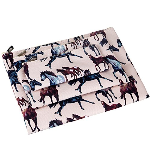 Wildkin Kids 3 Piece Zippered Organizer for Boys and Girls, Perfect Size for Packing School Supplies and Travel Essentials, 600-Denier Polyester Fabric Organizer Set, BPA-free,Olive Kids(Horse Dreams)