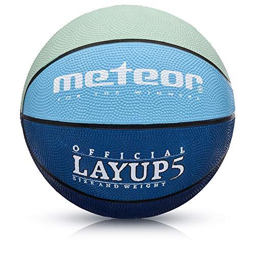 meteor® Layup Kinder Mini Basketball Größe #5 ideal auf die Jugend Kinderhände von 4-8 Jährigen abgestimmt idealer Basketball für Ausbildung weicher Basketball (Größe 5 (Kinder), Grau & Blau)