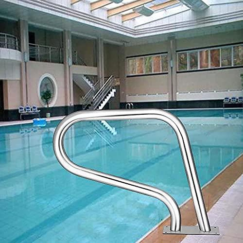 Pista de mano para piscina, acero inoxidable, 3 curvas, para escaleras, soporte de montaje rápido y mango perfecto, escalera de atrapar piscina, accesorios completos, color plateado
