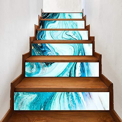A.Monamour Pegatinas de Escalera Autoadhesivos 3D Pintura Azul De Textura De Mármol De Lujo Con Polvo De Oro Vinilo Impermeable Pegatinas de Pared Adhesivos Etiquetas Pegatinas de Baldosas 6 PCs