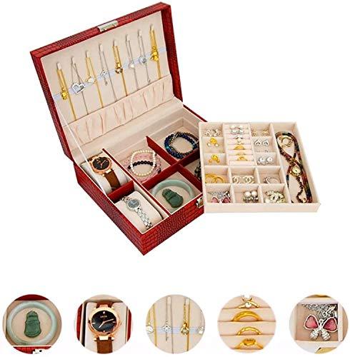 OH Caja de Joyería Multifuncional con Cerradura Reloj Caja de Anillo Pulsera Collar de Joyería Caja de Alenamiento Doble con Almohada de Mesa Portátil/Gold / 23.8x19x8cm