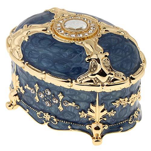 P Prettyia Vintage Schmuckschatulle Schmuck Halter Haus Deko Schatztruhe - Damen Schmuck Geschenk - Blau