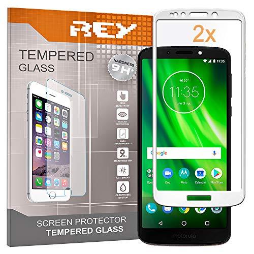 REY Pack 2X Panzerglas Schutzfolie 3D für Motorola Moto G6 Play, Weiß, Displayschutzfolie 9H+ Härte, Anti-Kratzen, Anti-Öl, Anti-Bläschen, Voller Schutz, 3D, 4D, 5D
